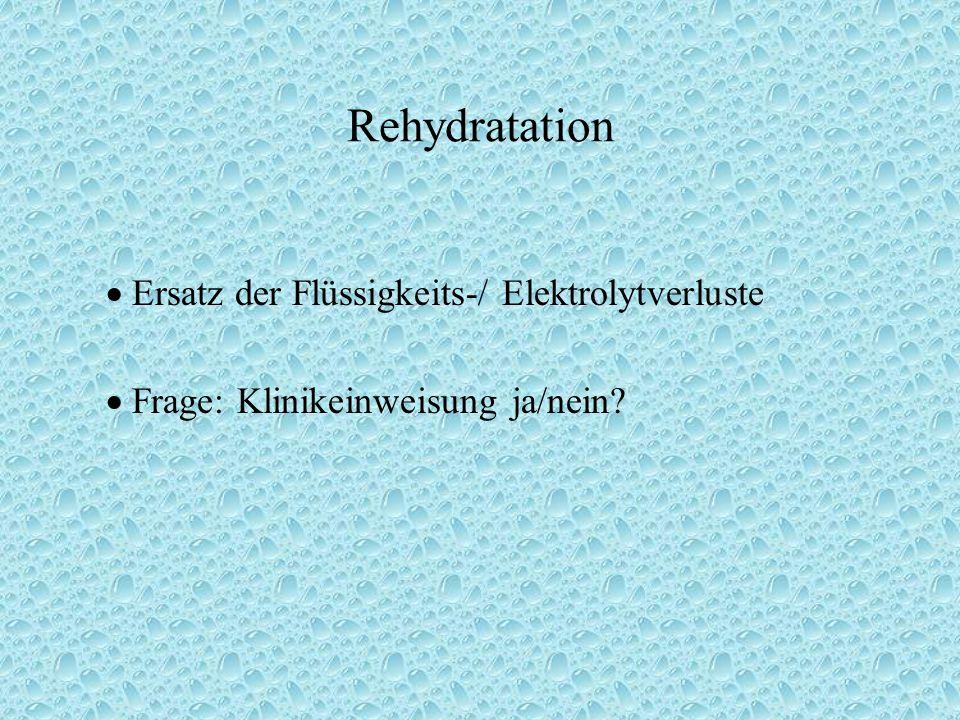 Rehydratation  Ersatz der Flüssigkeits-/ Elektrolytverluste