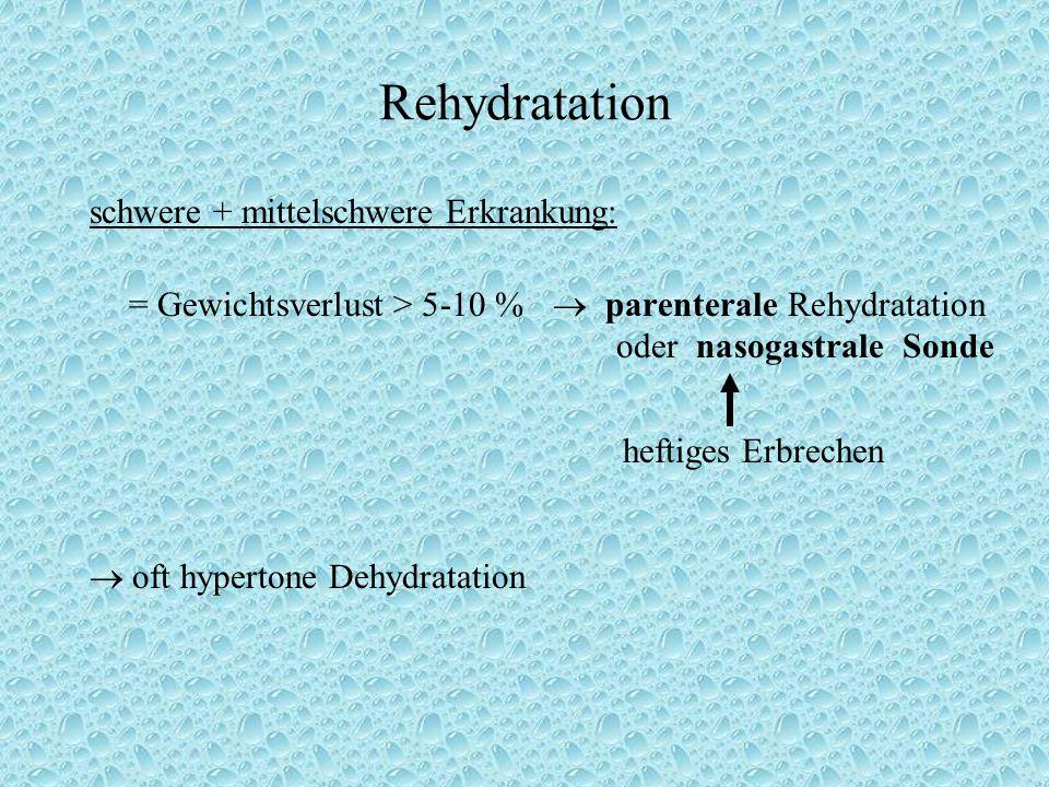 Rehydratation schwere + mittelschwere Erkrankung: