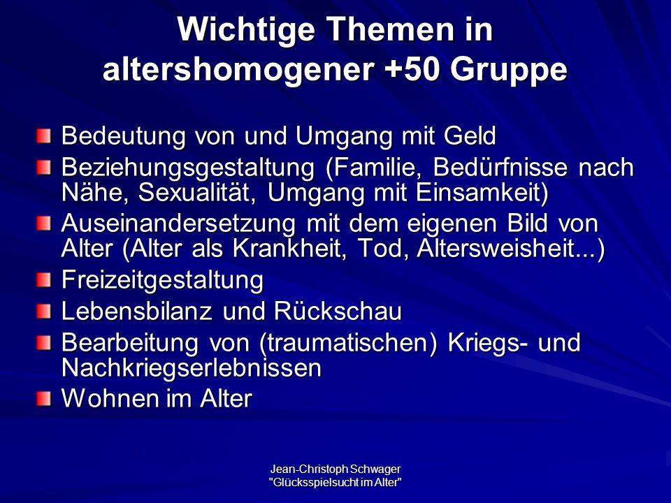 Wichtige Themen in altershomogener +50 Gruppe