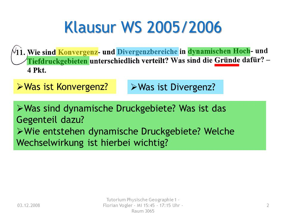 Klausur WS 2005/2006 Was ist Konvergenz Was ist Divergenz