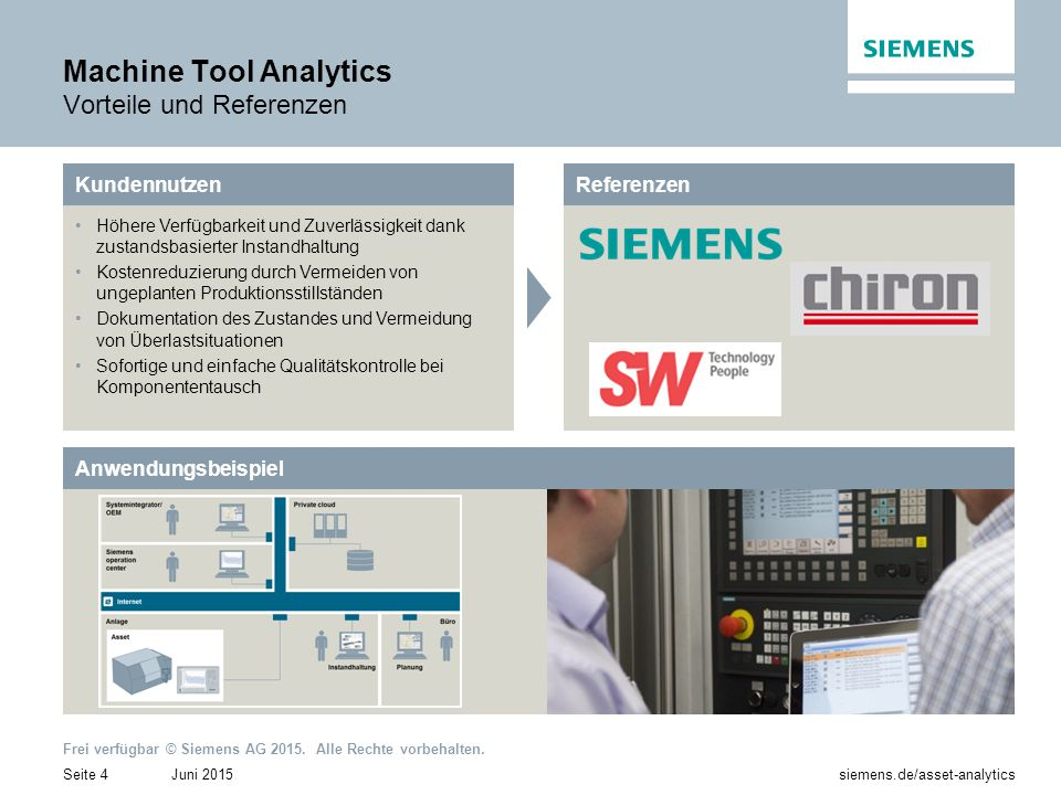 Machine Tool Analytics Vorteile und Referenzen