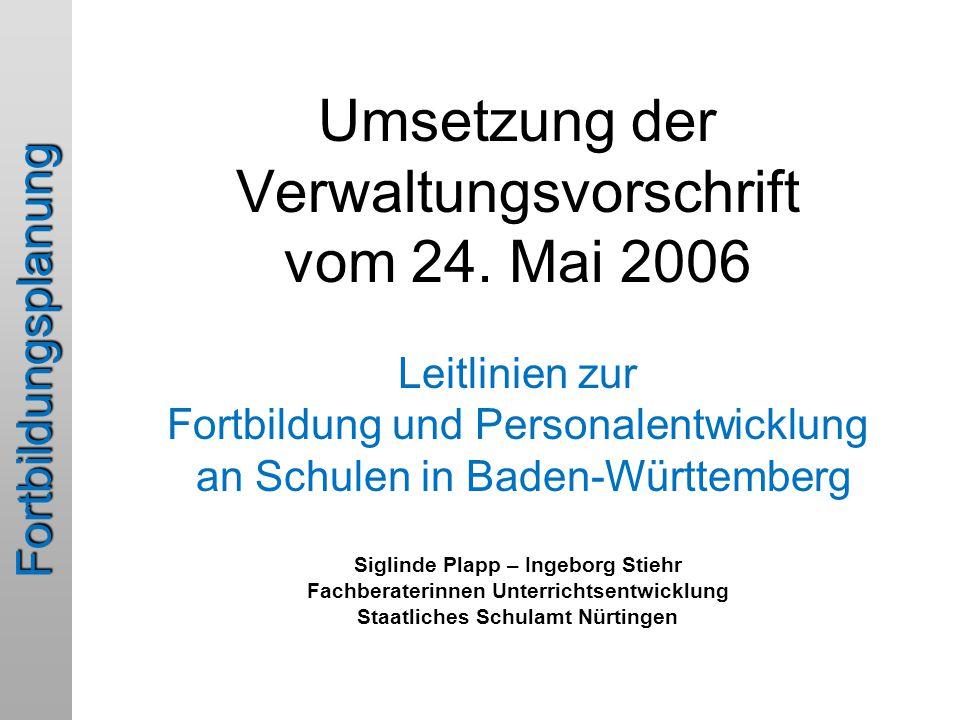 Umsetzung der Verwaltungsvorschrift vom 24