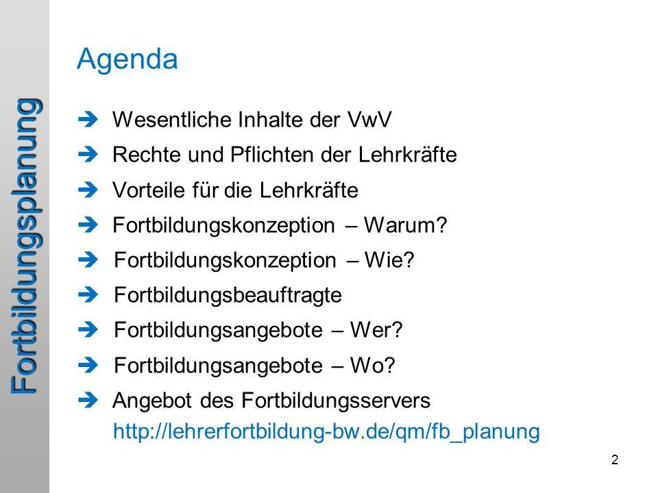 Fortbildungsplanung Agenda  Wesentliche Inhalte der VwV