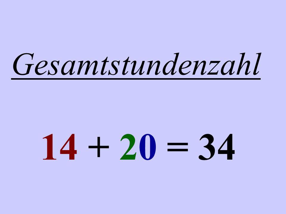Gesamtstundenzahl 14 + 20 = 34