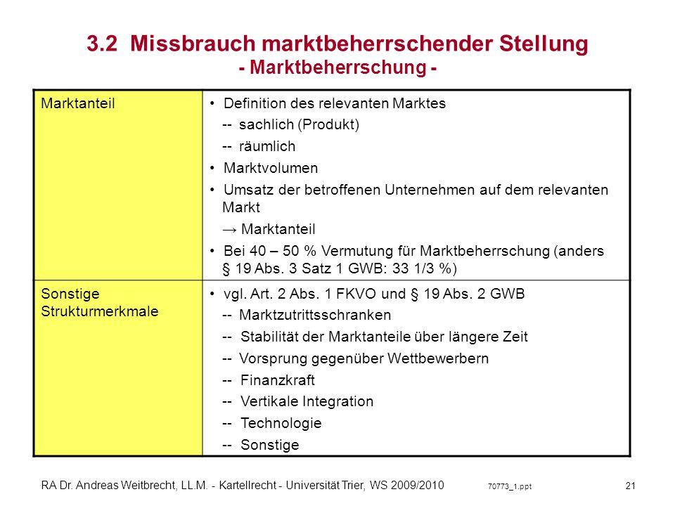 3.2 Missbrauch marktbeherrschender Stellung - Marktbeherrschung -