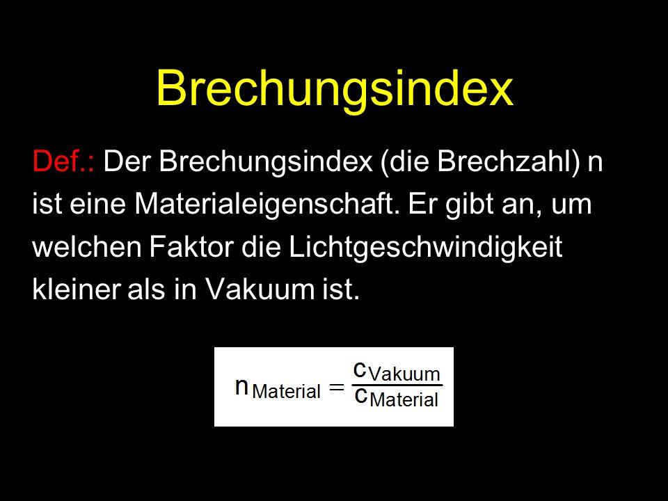 Brechungsindex Def.: Der Brechungsindex (die Brechzahl) n