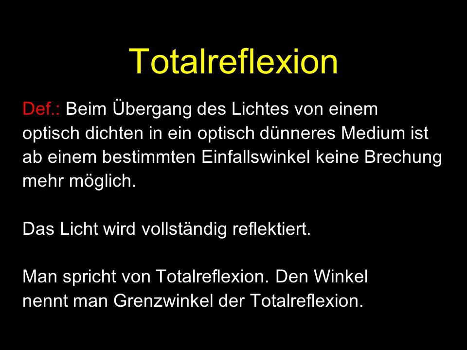 Totalreflexion Def.: Beim Übergang des Lichtes von einem