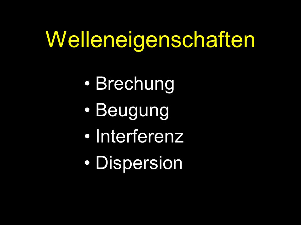 Welleneigenschaften Brechung Beugung Interferenz Dispersion