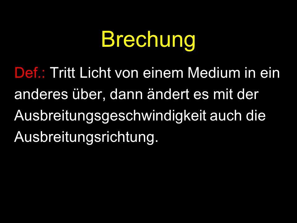Brechung Def.: Tritt Licht von einem Medium in ein