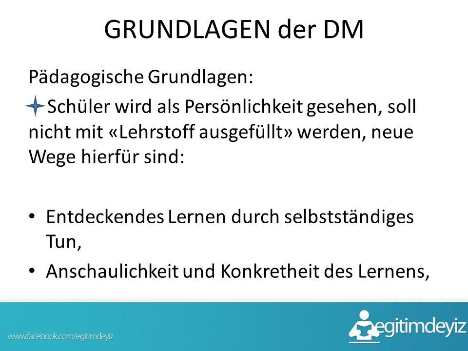 GRUNDLAGEN der DM Pädagogische Grundlagen: