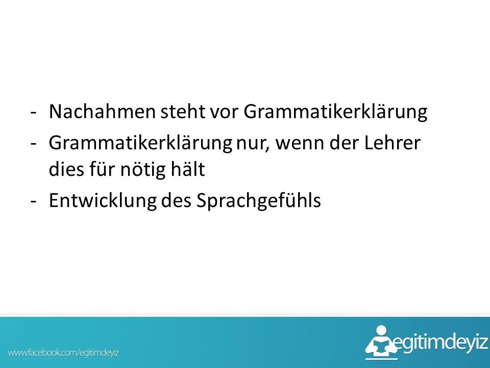Nachahmen steht vor Grammatikerklärung