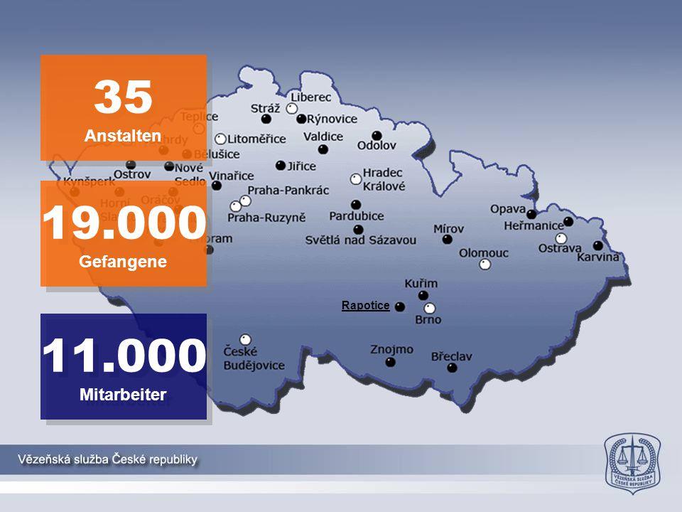 35 Anstalten 19.000 Gefangene Rapotice 11.000 Mitarbeiter 2