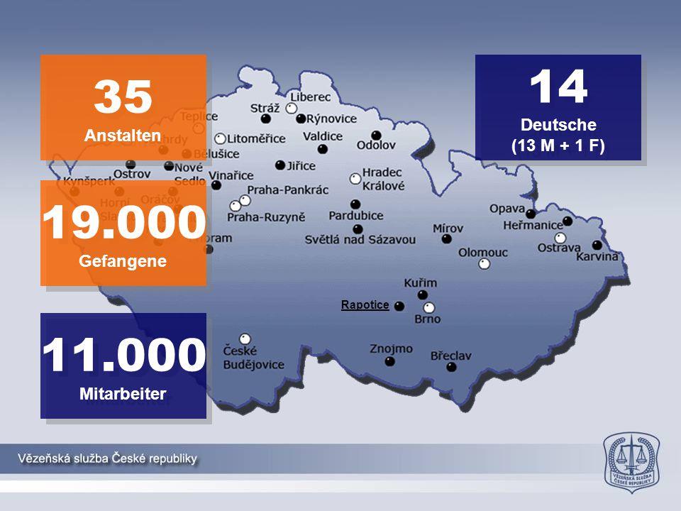 14 35 19.000 11.000 Deutsche Anstalten (13 M + 1 F) Gefangene