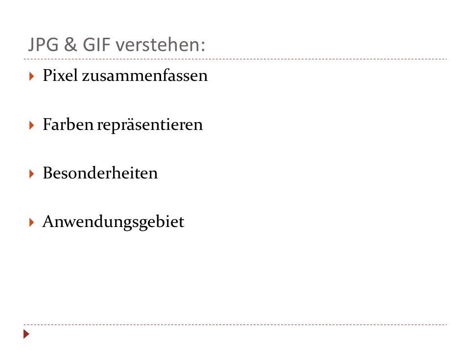 JPG & GIF verstehen: Pixel zusammenfassen Farben repräsentieren