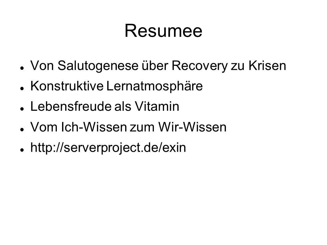 Resumee Von Salutogenese über Recovery zu Krisen