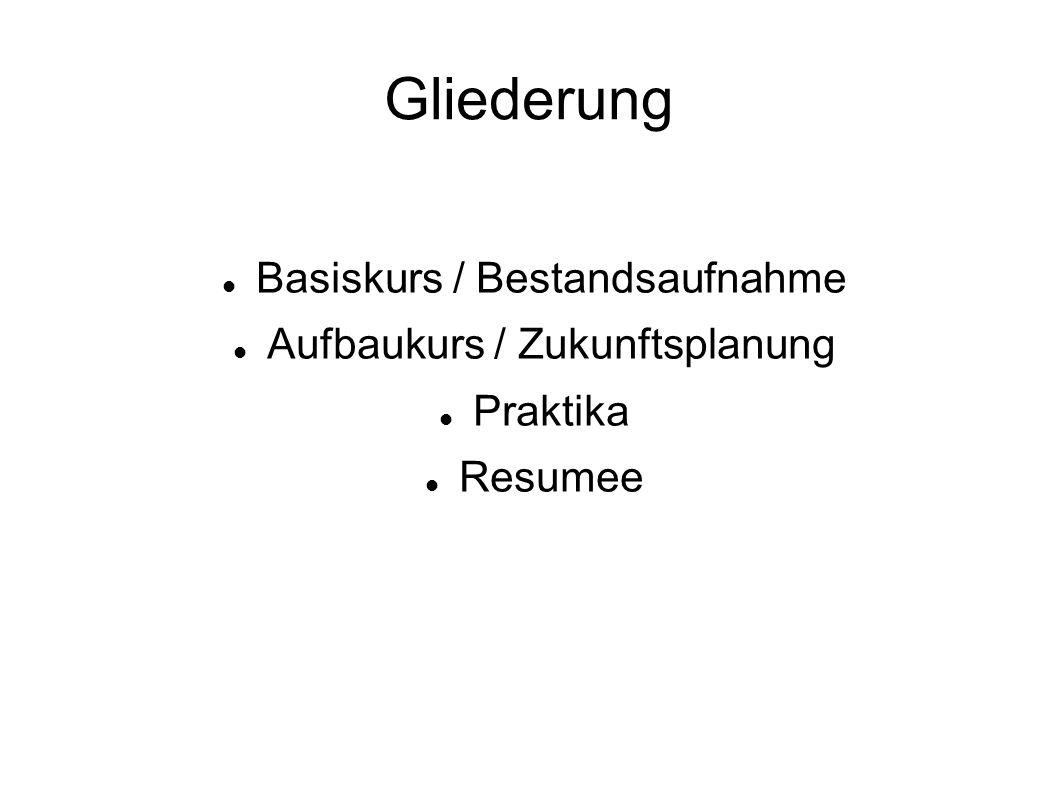 Gliederung Basiskurs / Bestandsaufnahme Aufbaukurs / Zukunftsplanung