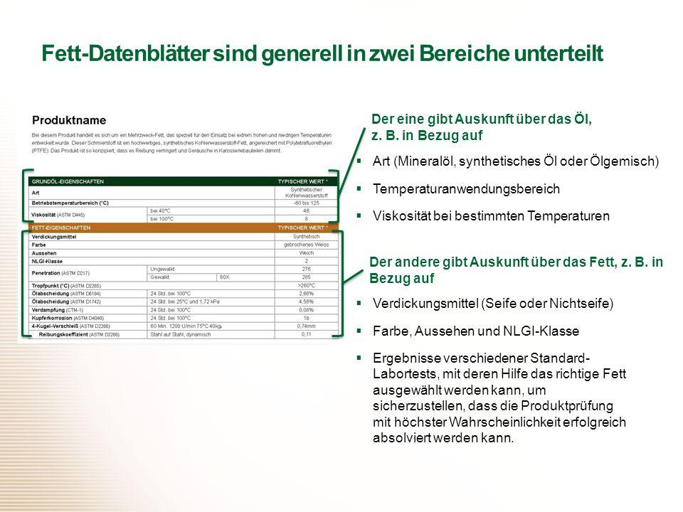 Fett-Datenblätter sind generell in zwei Bereiche unterteilt
