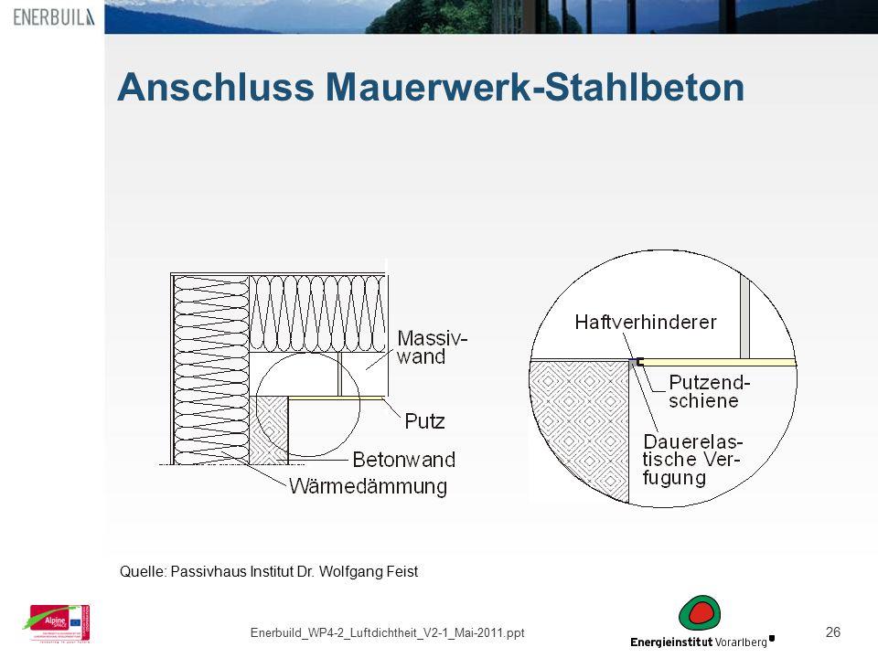Anschluss Mauerwerk-Stahlbeton