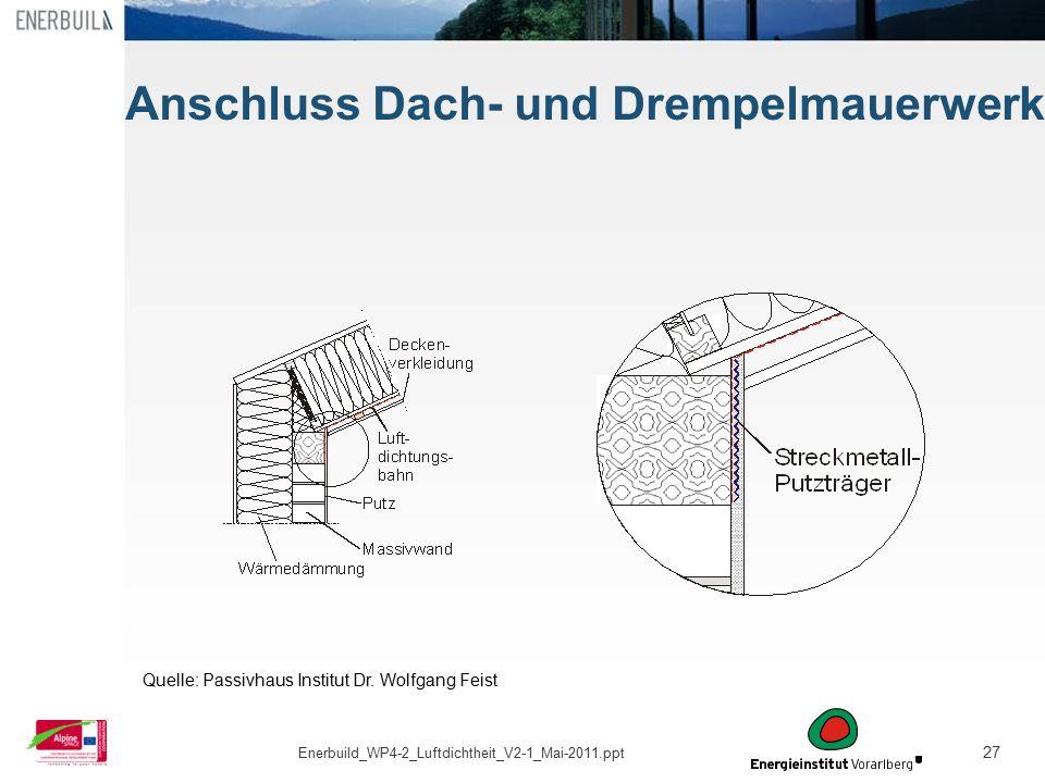 Anschluss Dach- und Drempelmauerwerk
