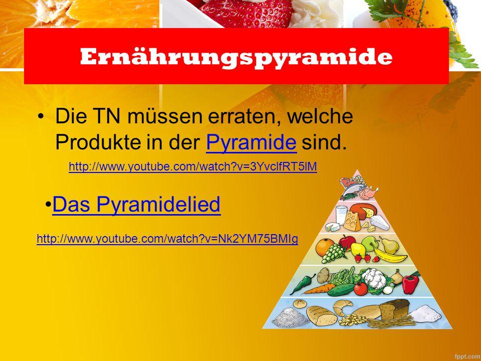 Ernährungspyramide Die TN müssen erraten, welche Produkte in der Pyramide sind. http://www.youtube.com/watch v=3YvclfRT5lM.