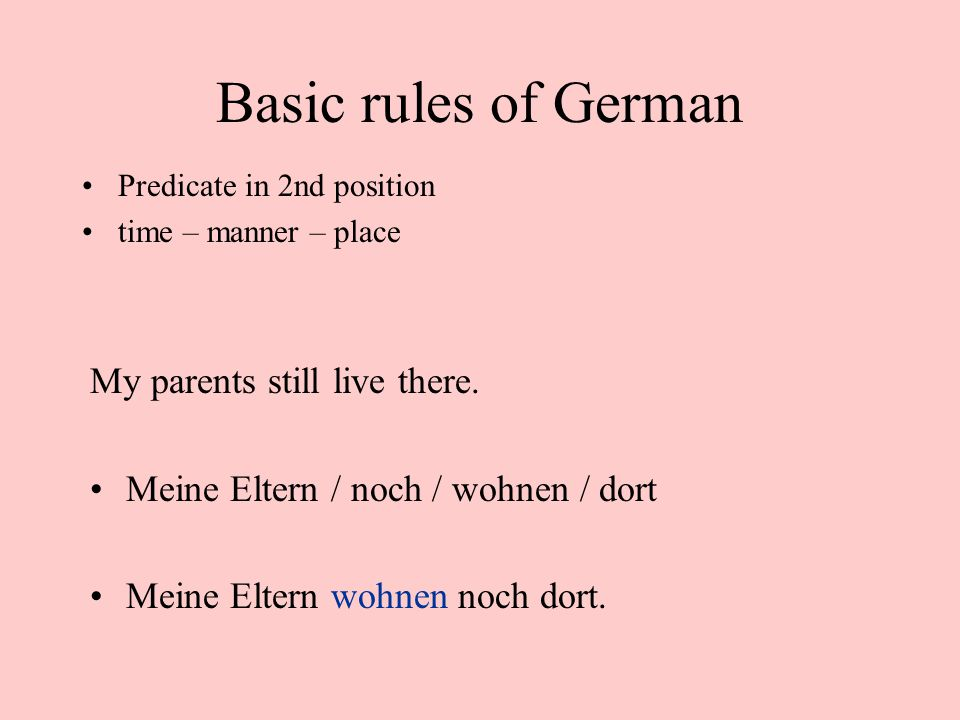 Basic rules of German My parents still live there.