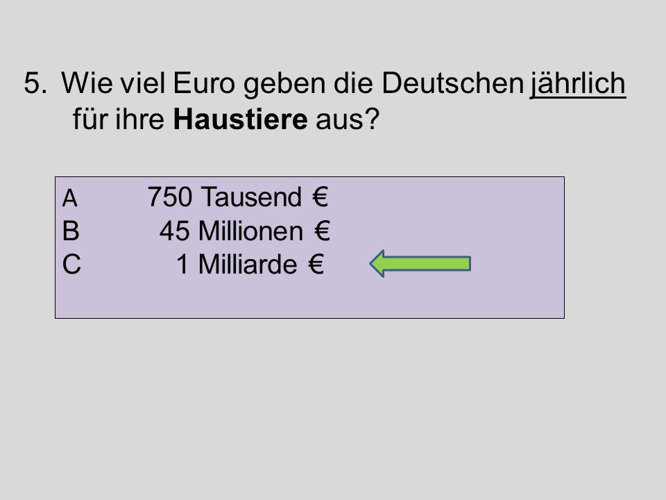 Wie viel Euro geben die Deutschen jährlich für ihre Haustiere aus