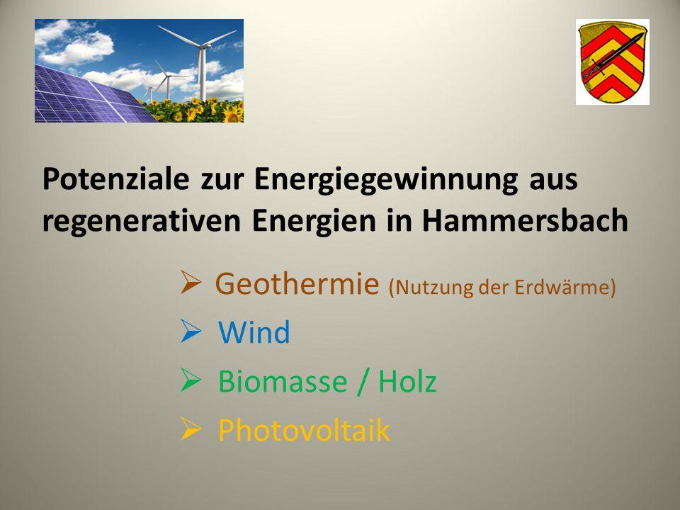 Potenziale zur Energiegewinnung aus regenerativen Energien in Hammersbach