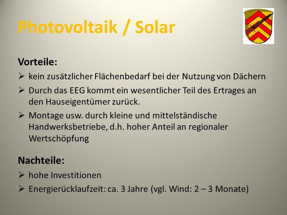 Photovoltaik / Solar Vorteile: Nachteile: