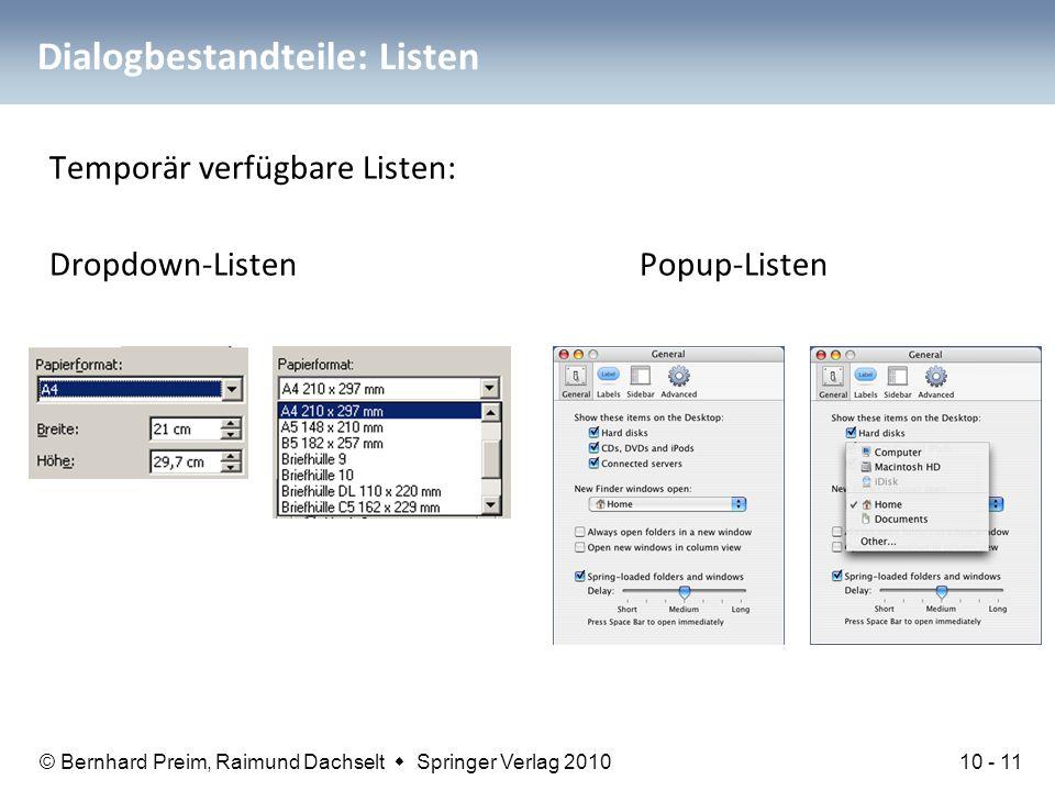 Dialogbestandteile: Listen