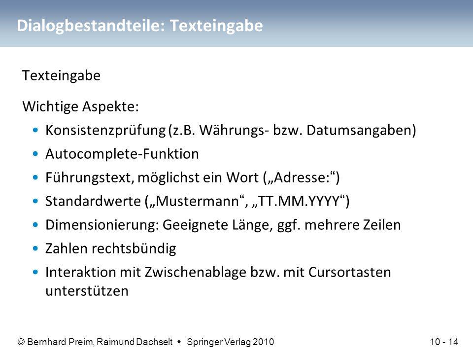 Dialogbestandteile: Texteingabe
