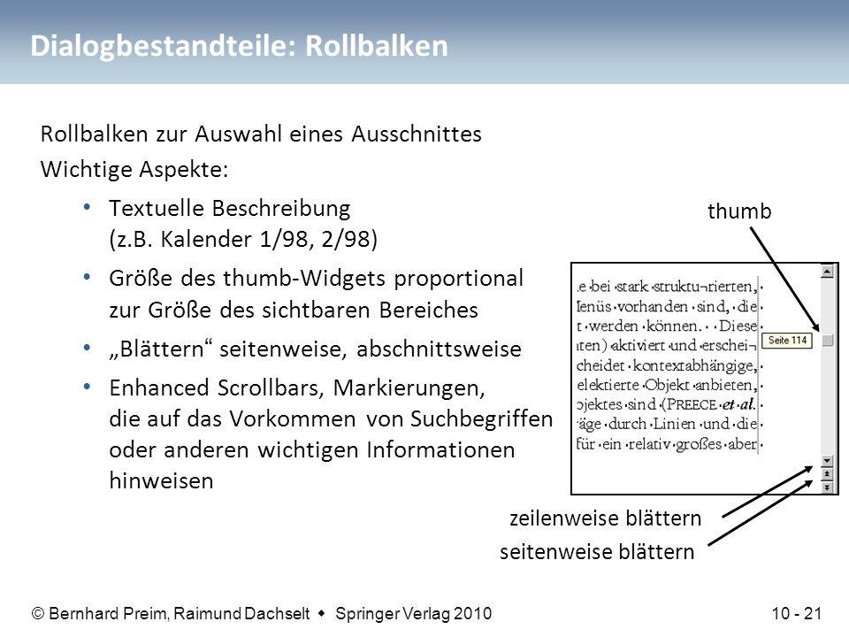 Dialogbestandteile: Rollbalken