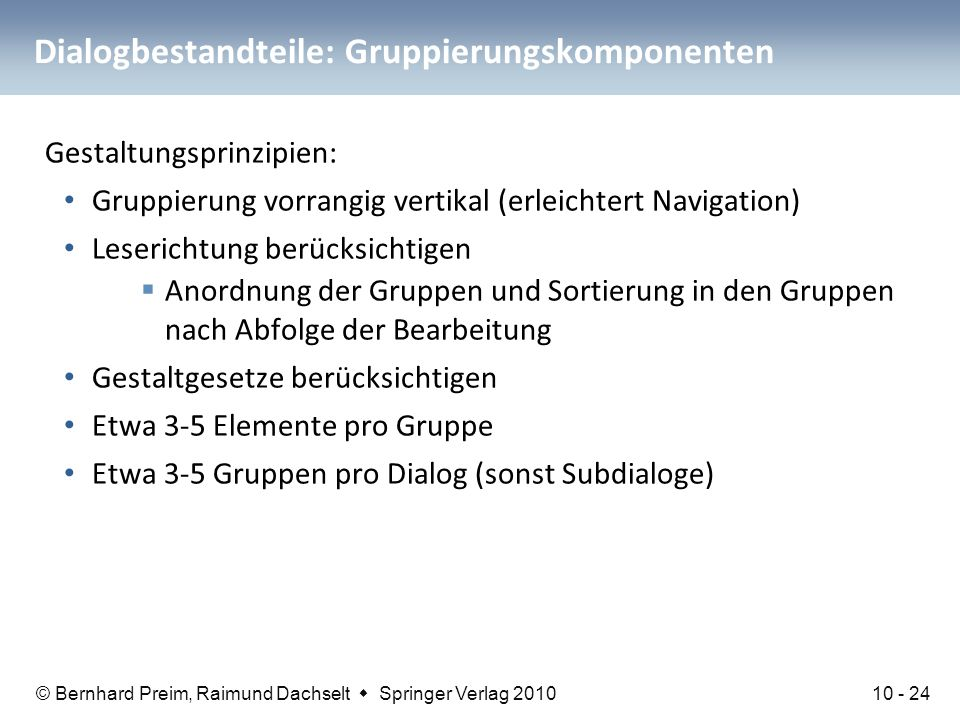 Dialogbestandteile: Gruppierungskomponenten