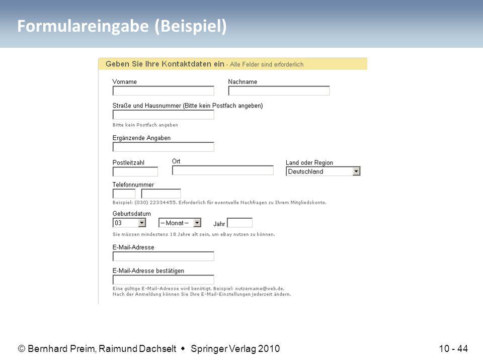 Formulareingabe (Beispiel)