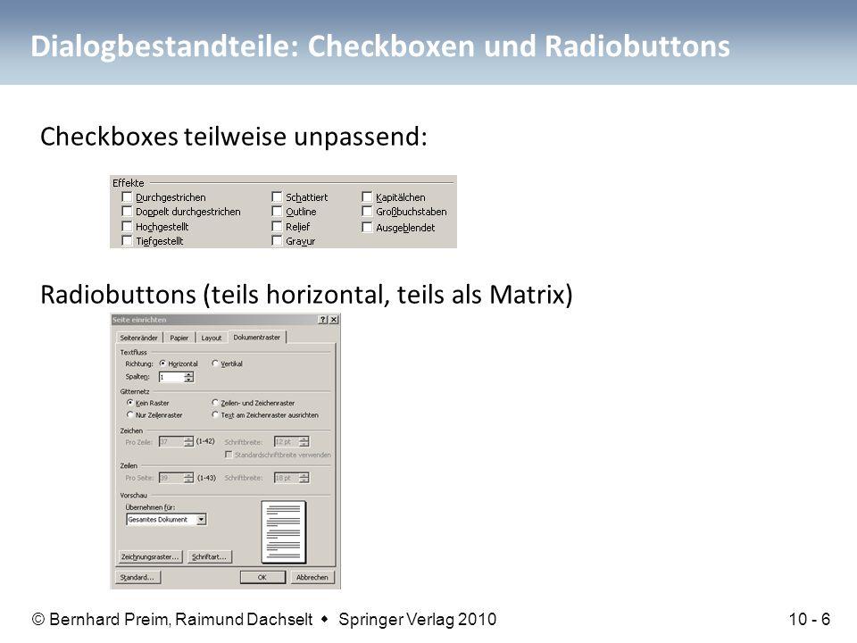 Dialogbestandteile: Checkboxen und Radiobuttons