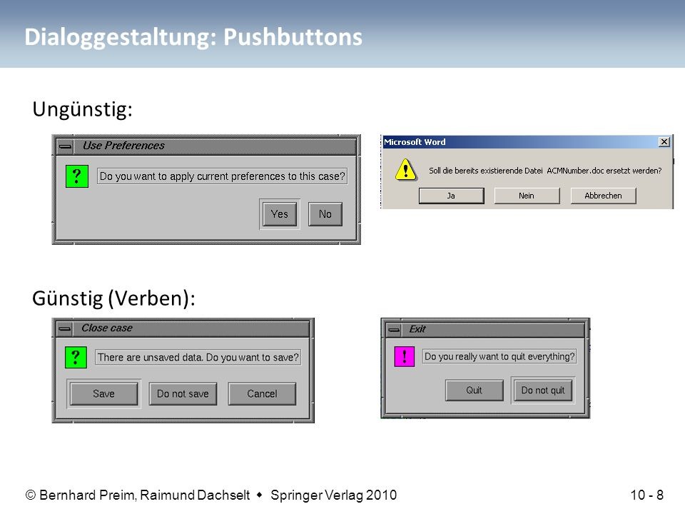 Dialoggestaltung: Pushbuttons