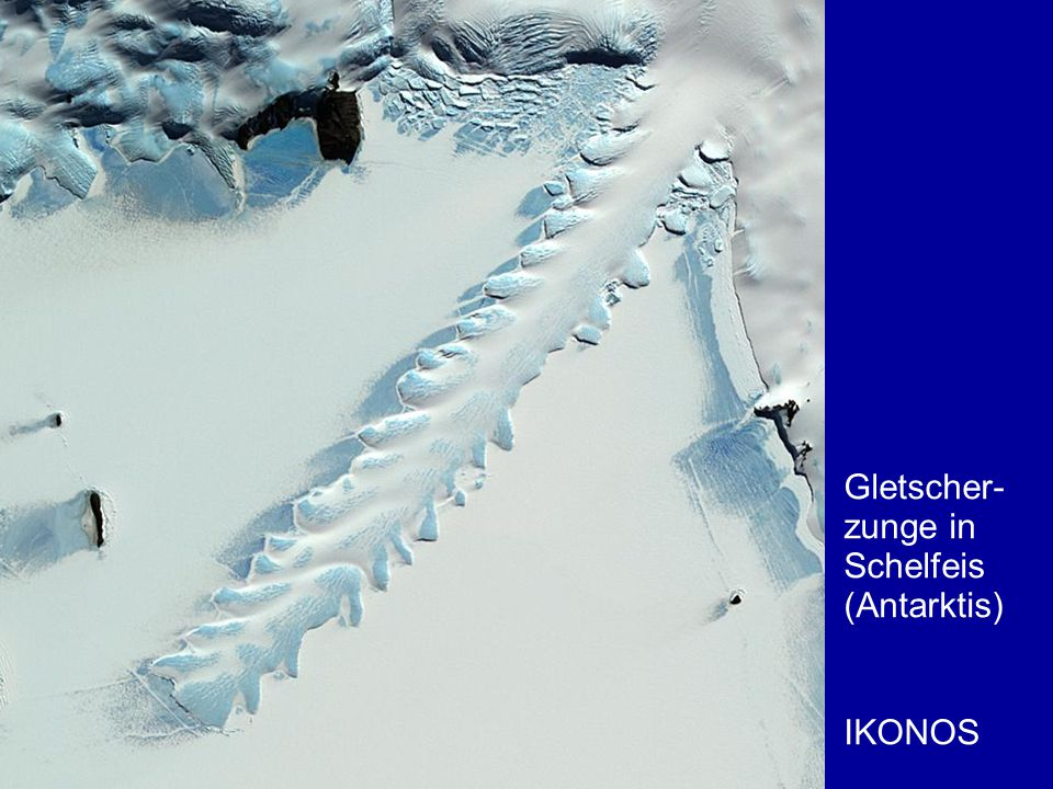 Gletscher- zunge in Schelfeis (Antarktis)