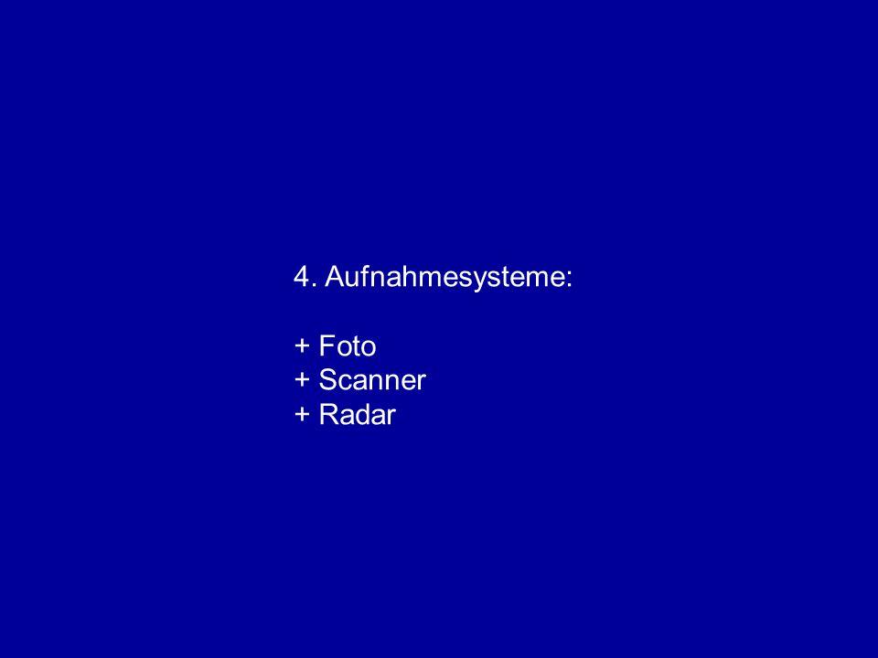 4. Aufnahmesysteme: + Foto + Scanner + Radar