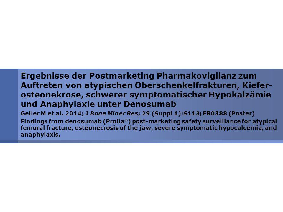 Ergebnisse der Postmarketing Pharmakovigilanz zum Auftreten von atypischen Oberschenkelfrakturen, Kiefer-osteonekrose, schwerer symptomatischer Hypokalzämie und Anaphylaxie unter Denosumab