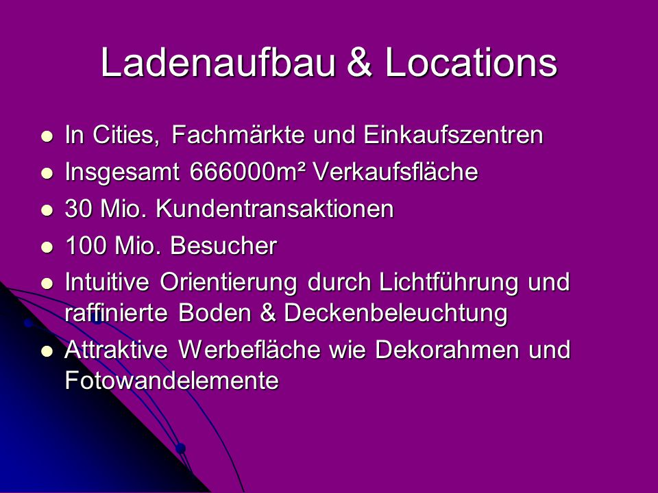 Ladenaufbau & Locations