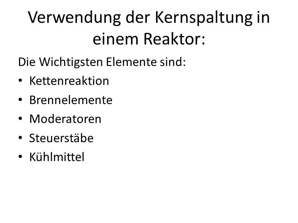 Verwendung der Kernspaltung in einem Reaktor: