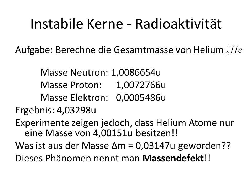 Instabile Kerne - Radioaktivität