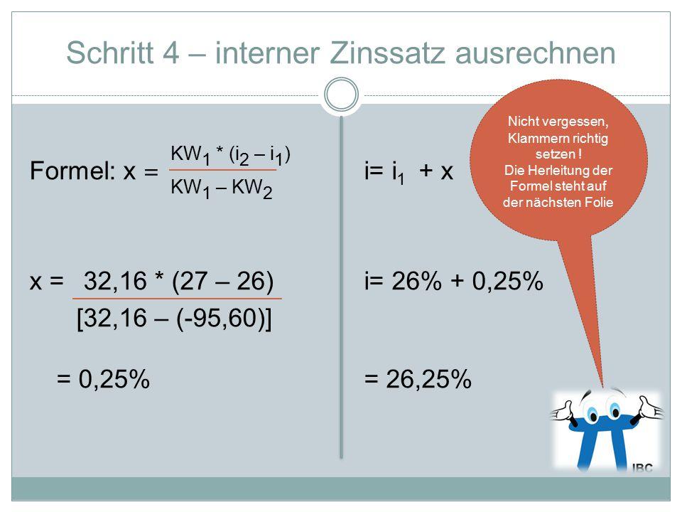 Schritt 4 – interner Zinssatz ausrechnen