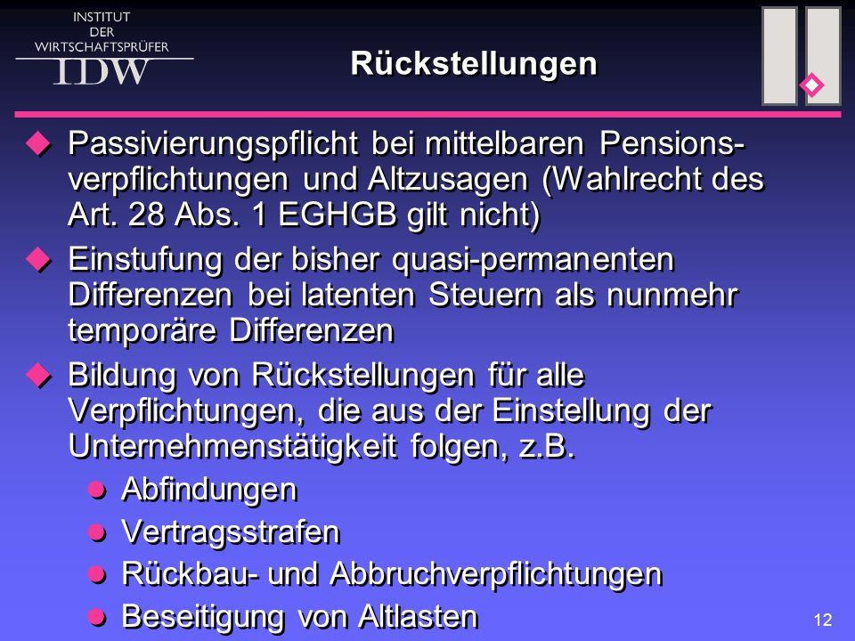Rückstellungen Passivierungspflicht bei mittelbaren Pensions-verpflichtungen und Altzusagen (Wahlrecht des Art. 28 Abs. 1 EGHGB gilt nicht)