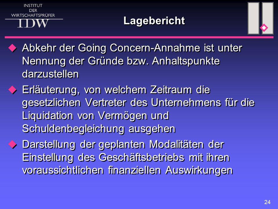 Lagebericht Abkehr der Going Concern-Annahme ist unter Nennung der Gründe bzw. Anhaltspunkte darzustellen.