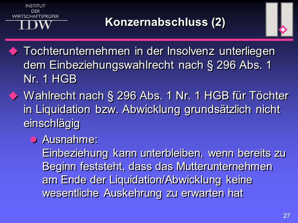 Konzernabschluss (2) Tochterunternehmen in der Insolvenz unterliegen dem Einbeziehungswahlrecht nach § 296 Abs. 1 Nr. 1 HGB.