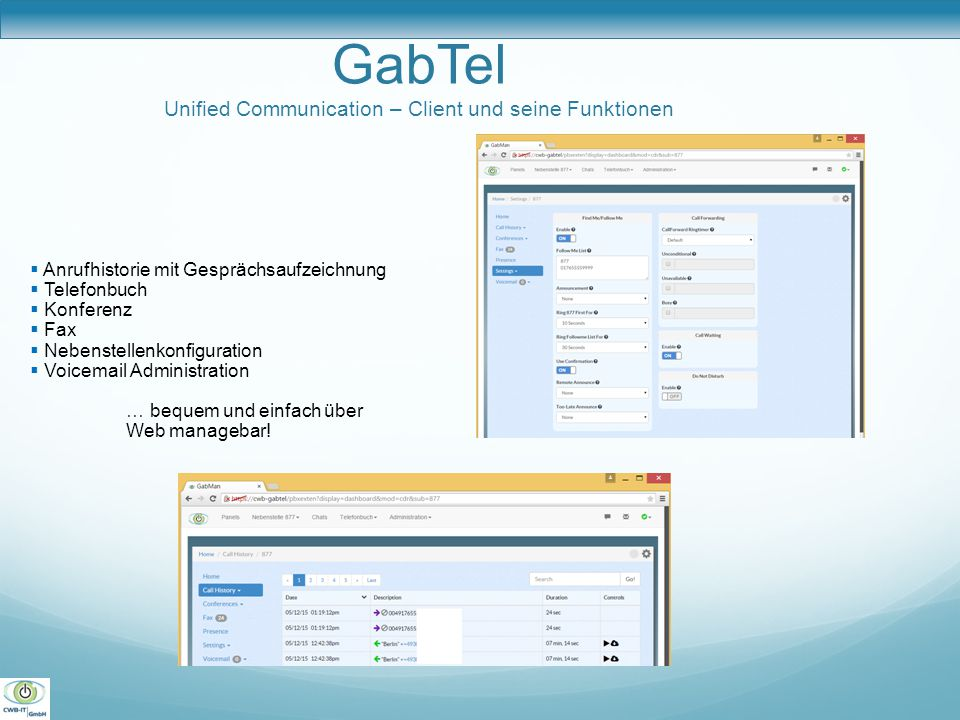 GabTel Unified Communication – Client und seine Funktionen