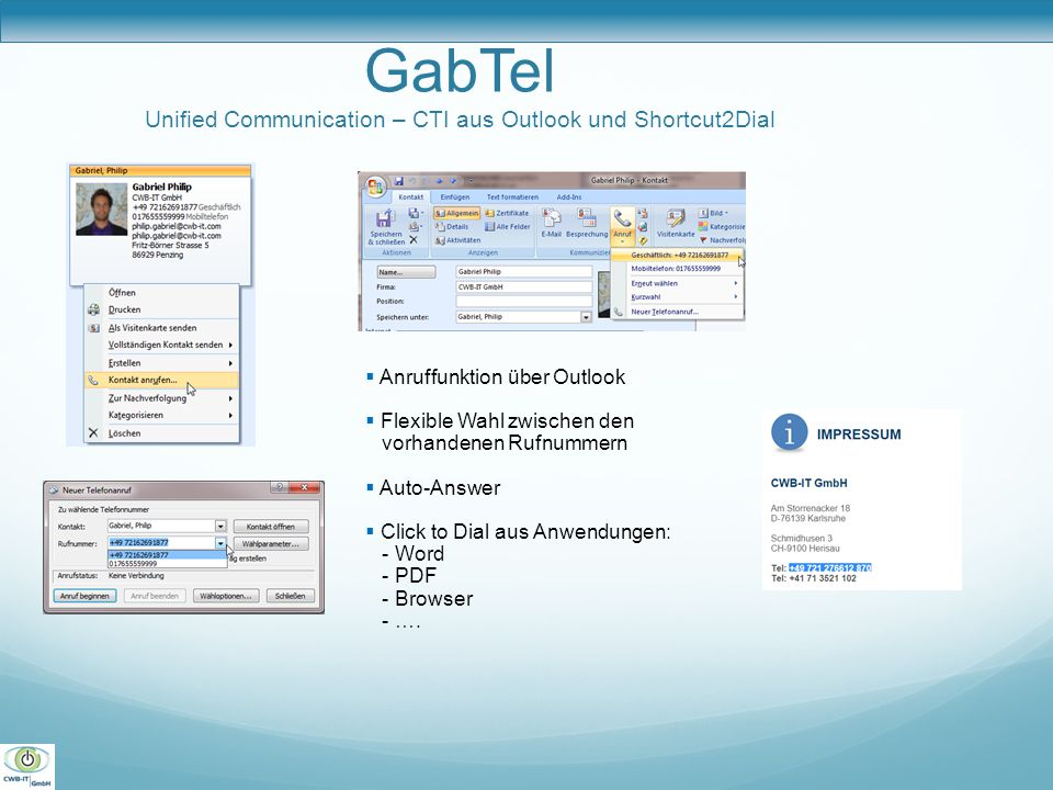GabTel Unified Communication – CTI aus Outlook und Shortcut2Dial