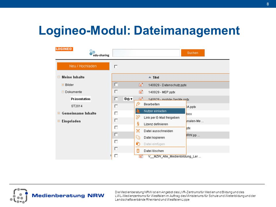 Logineo-Modul: Dateimanagement