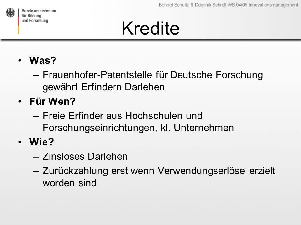 Kredite Was Frauenhofer-Patentstelle für Deutsche Forschung gewährt Erfindern Darlehen. Für Wen