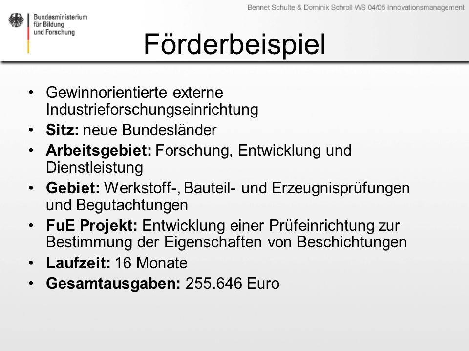 Förderbeispiel Gewinnorientierte externe Industrieforschungseinrichtung. Sitz: neue Bundesländer.